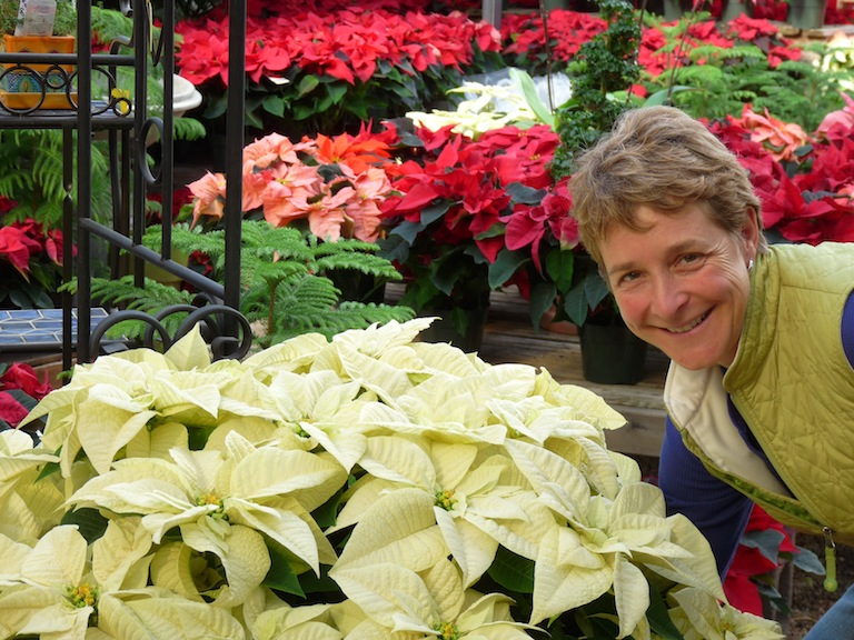 Connie with Poinsettias