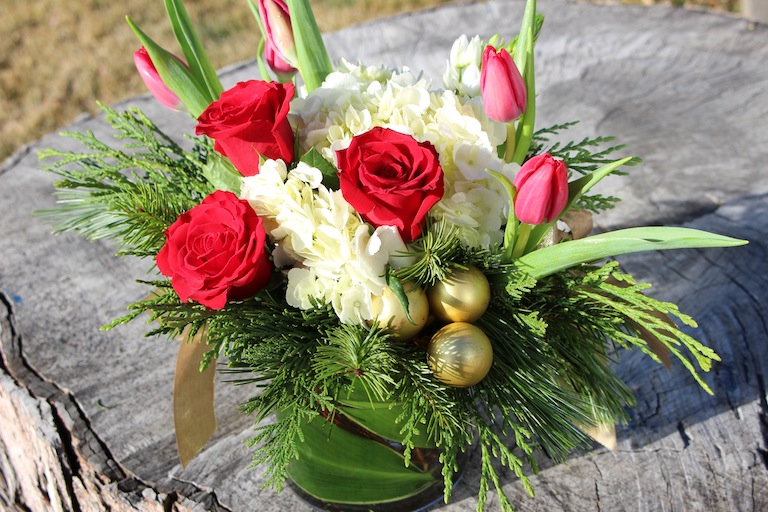 Red Tulips Christmas Centerpiece