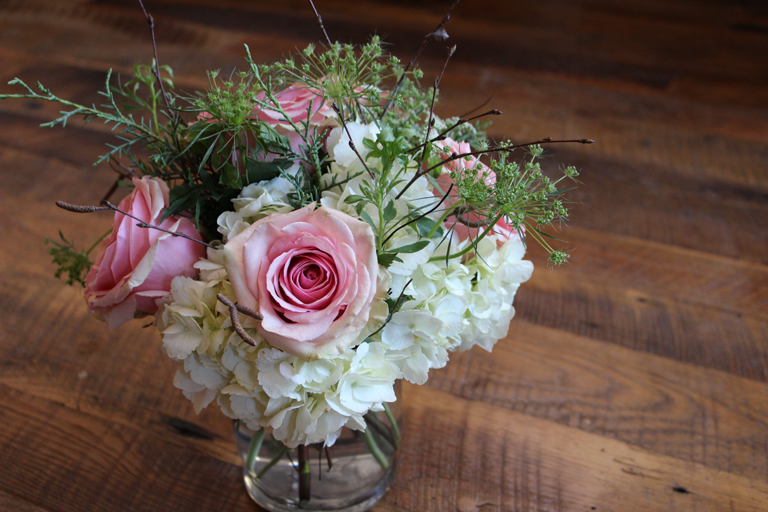 Valentine Flowers with Pink Roses and White Hydrangea