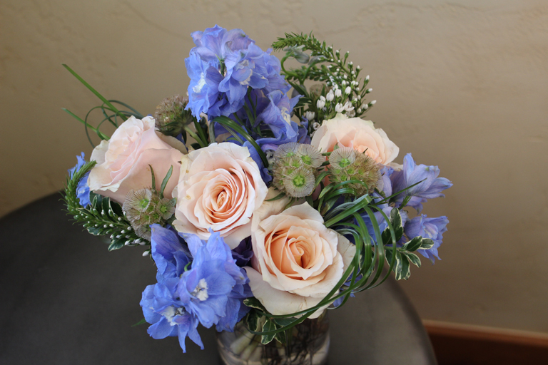Pink Roses and Blue Delphinium for Valentine's Day