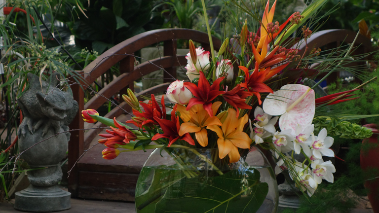 Valentine Flower Arrangement with Tropical Flowers
