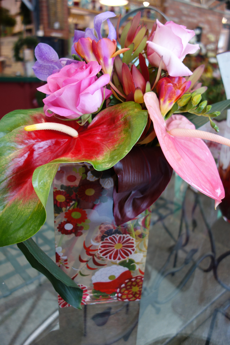 Heart Shaped Anthurium, Vanda Orchids, Pink Roses