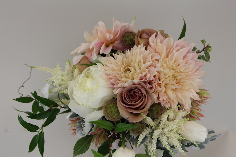 Dahlias, White Peonies and Astilbe in Wedding Bouquet