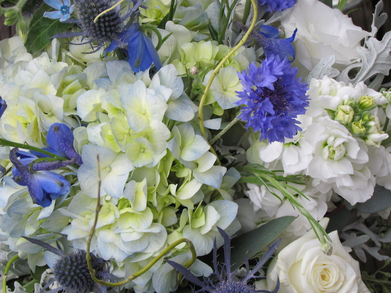 Wedding Centerpiece with Blue Delphinium and Bachelor Buttons