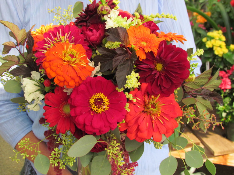 Zinnia and Dahlia Bridal Bouquet