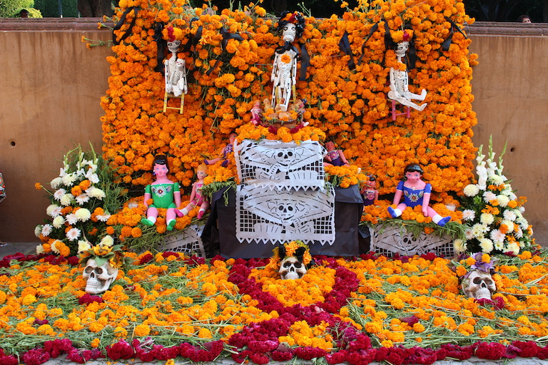 Day of the Dead altar with marigolds