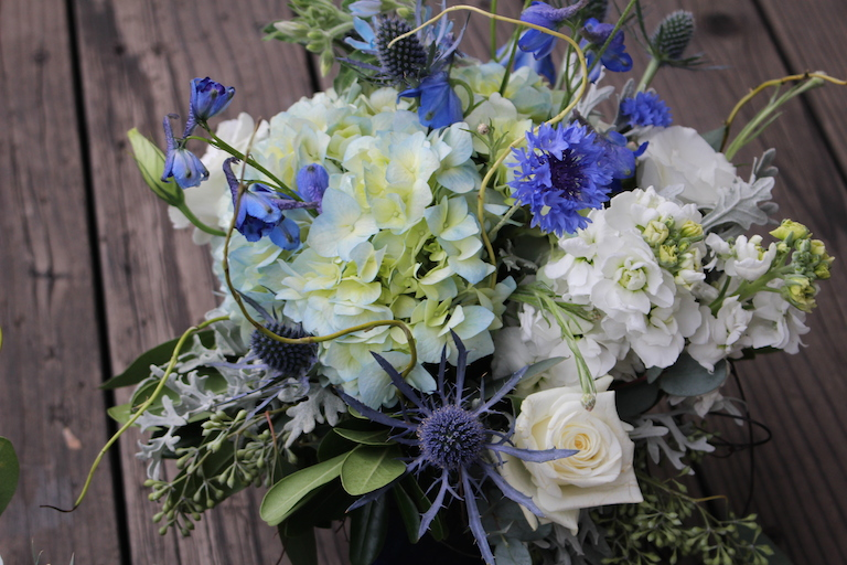 Hanukkah flowers with white hydrangea and stock