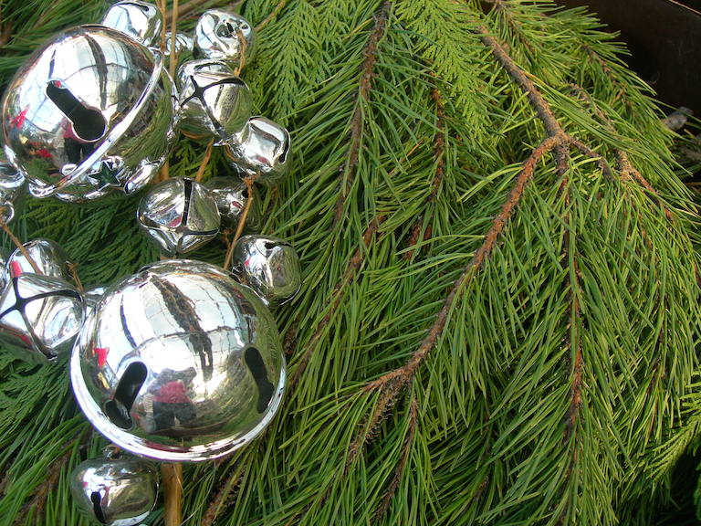 Silver Bells with Princess Pine Boughs