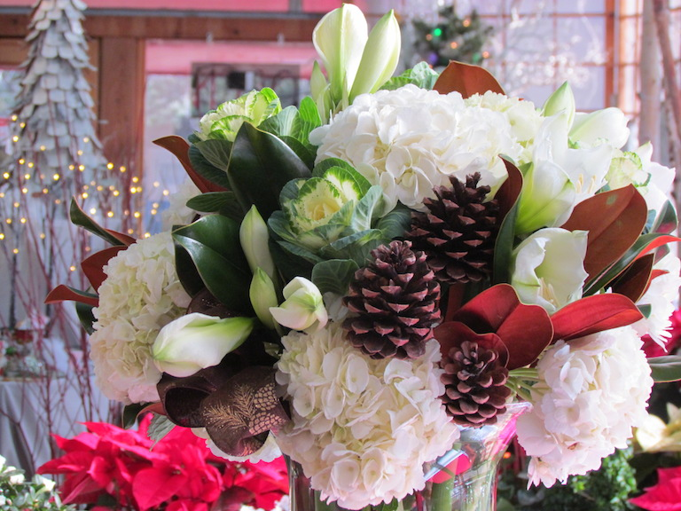 White Hydrangea, White Amaryllis and Pine Cones