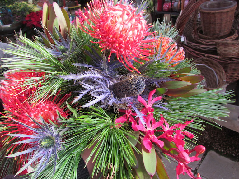 Protea and orchids mixed with Christmas evergreens