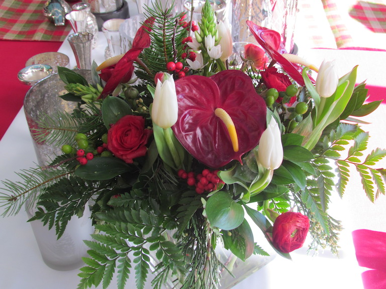 Holiday flowers with red anthurium and white tulips