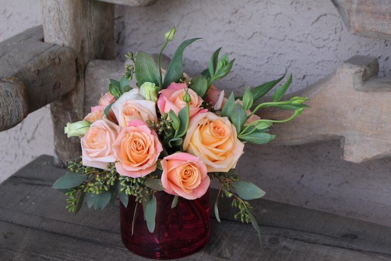 Blush Roses with Lisianthus $80.00