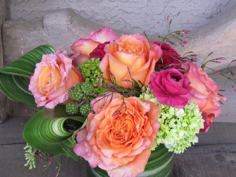 Roses and Ranunculus with Hydrangea and Jasmine for Your Valentine