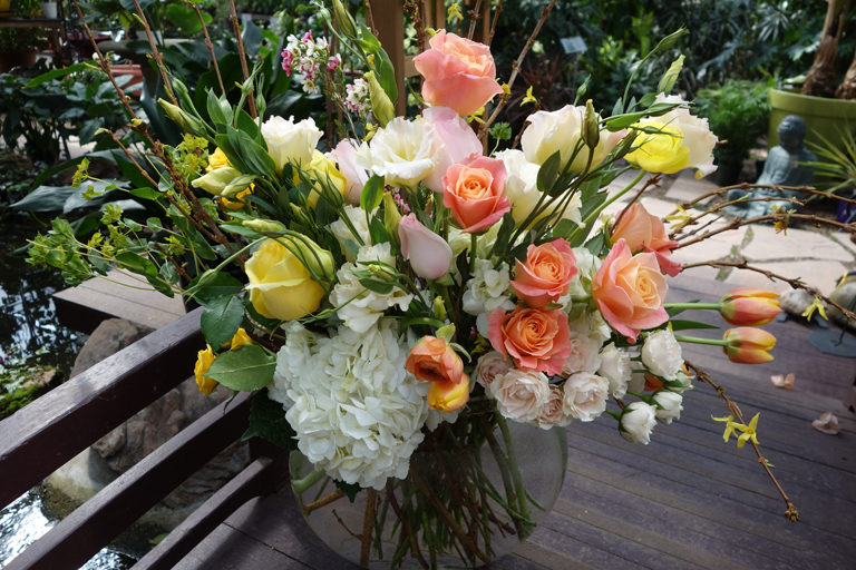 Peach Roses and Tulips