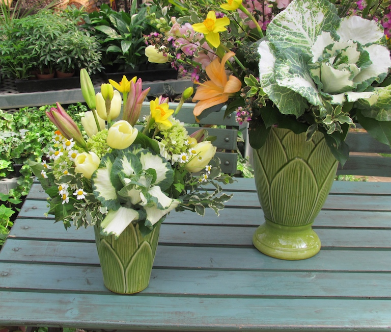 Spring Flowers with Ornamental Kale