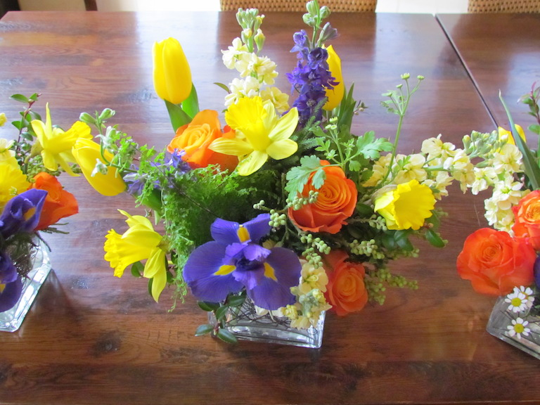 Spring flowers with iris and daffodils