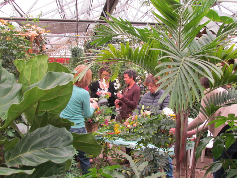 Flower Arranging in the Greenhouse