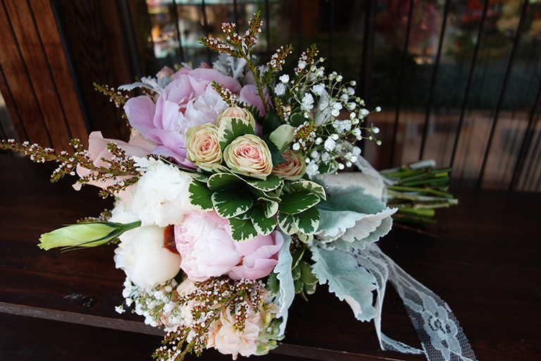 Peonies and Antique Pink Roses