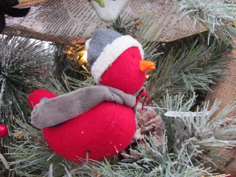 Red felt duck with scarf