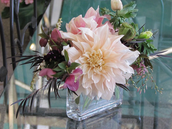Table Piece with Dahlias, Helleborus and Anemone