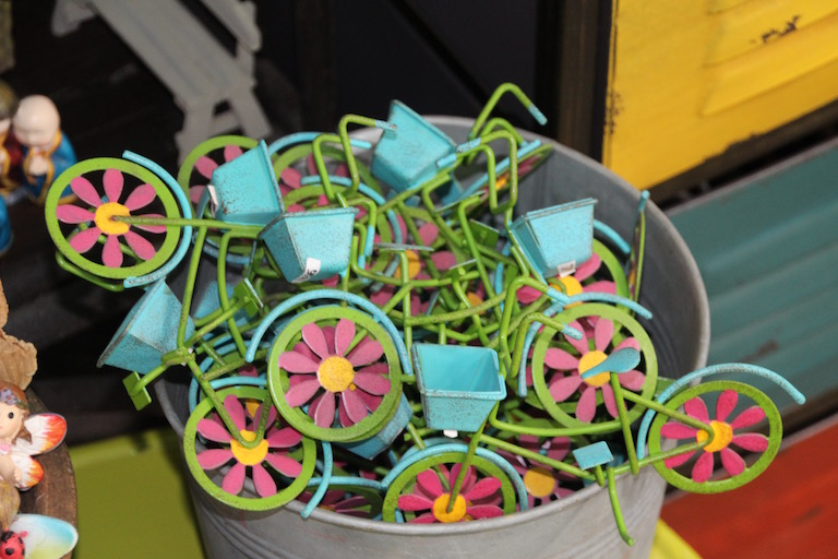 A bucket of blue bicycles for fairy gardens