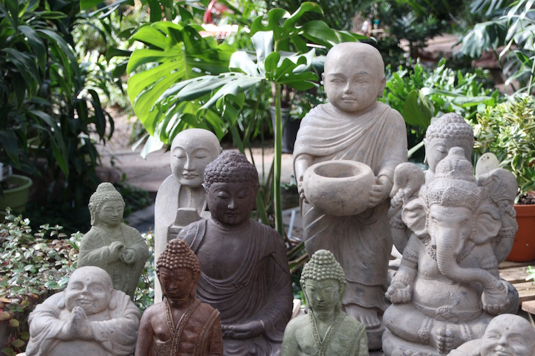 Ganesh, Buddha, Monks and Jizo in the Sturtz and Copeland garden