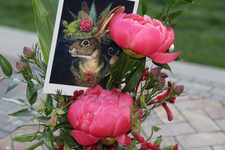 Peony bouquet with a Carolyn Schmitz Jackrabbit card