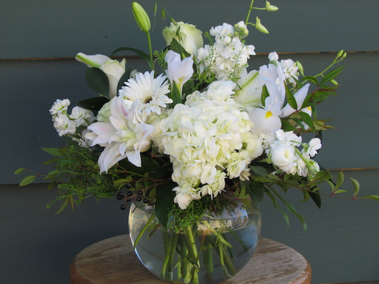 All white Christmas flower arrangement
