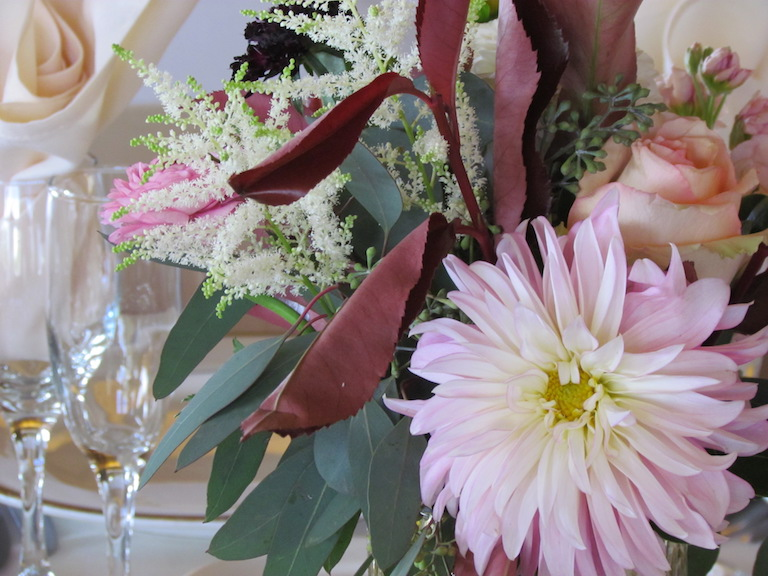 Centerpiece with pink dahlia and white astilbe