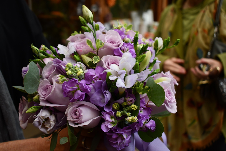 Lavender lisianthus, roses, stock and freesia