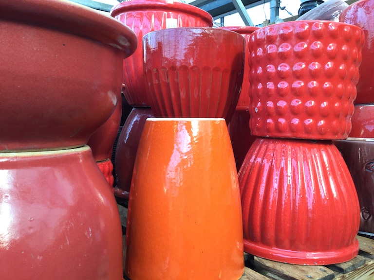 Bright red pots for indoors and out