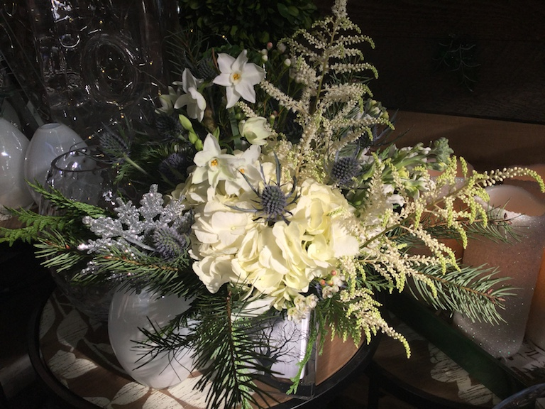White hydrangeas and paperwhites for Hanukkah