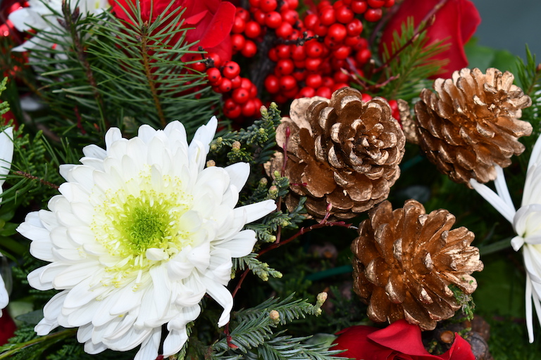 Pine cones go well with evergreens in Christmas centerpieces