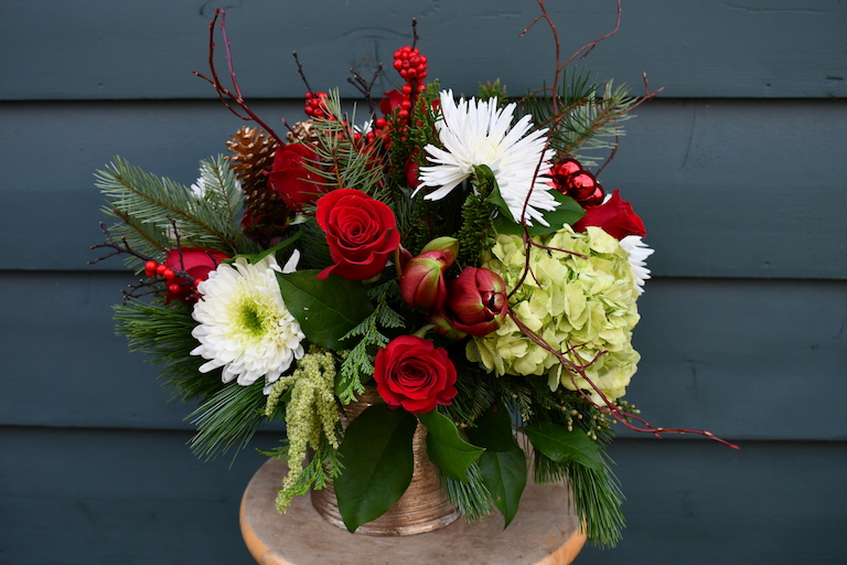 Amaryllis, Mums, Roses and Mixed Evergreens