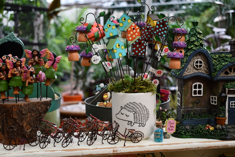 Fairy garden bicycles and bird houses