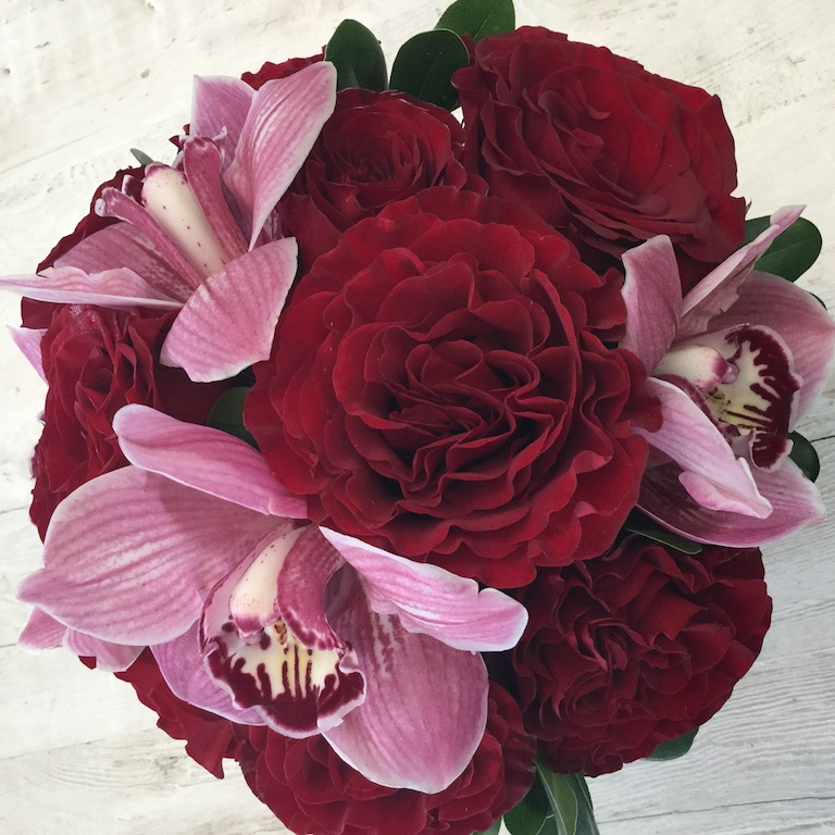 Roses and cymbidium orchids