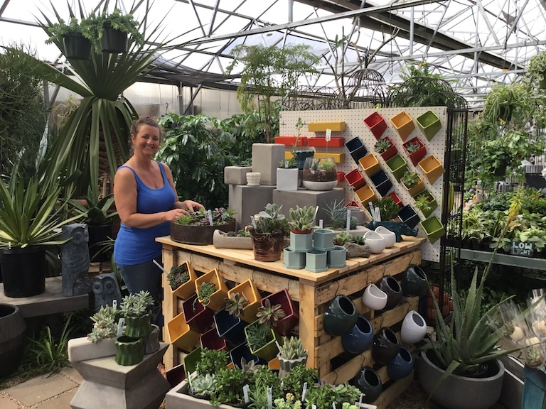 Becca in the new succulent section of the greenhouse
