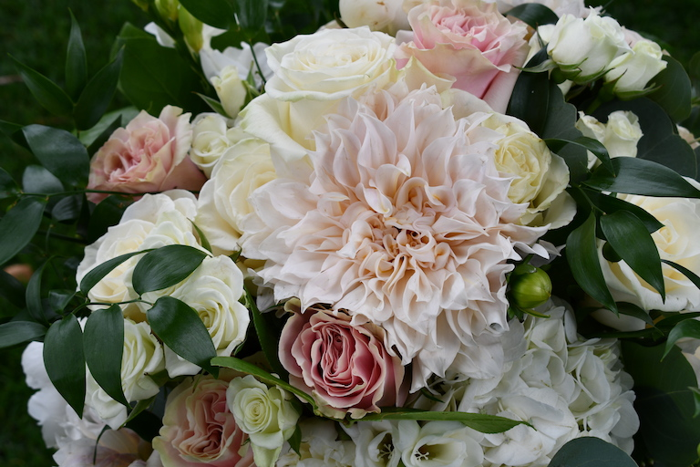 Beautiful peachy pink dahlia in a bridal bouquet
