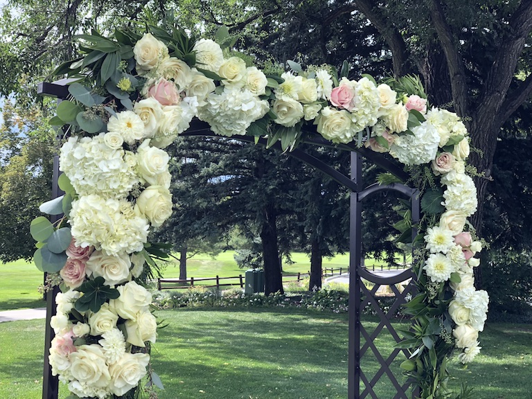 Arch with Pink Mondial Roses and White Hydrangeas