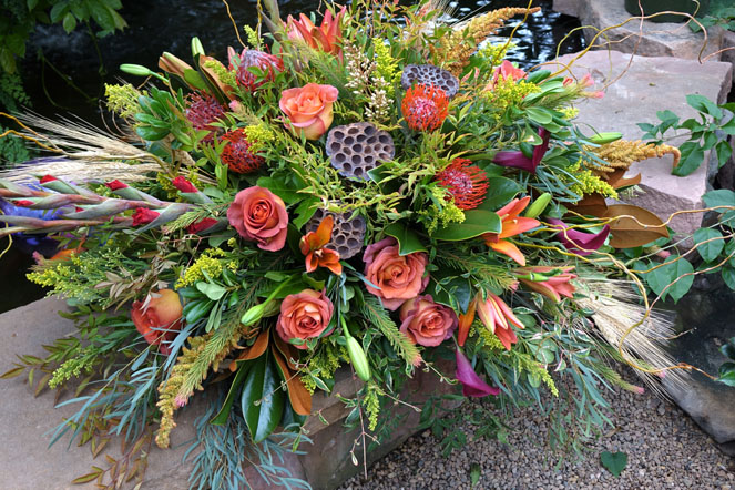 Fall Harvest with Coffee Break Roses and Protea
