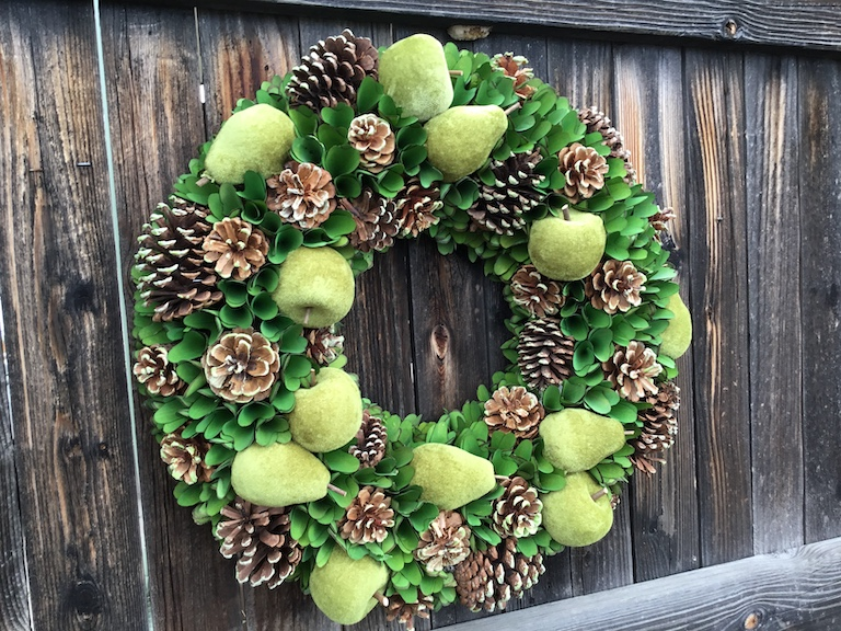 Pear and Apple Wreath with Pinecones