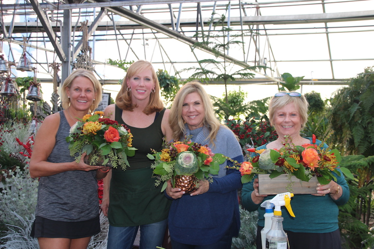 Happy girls in Thanksgiving flower design class with Mandy