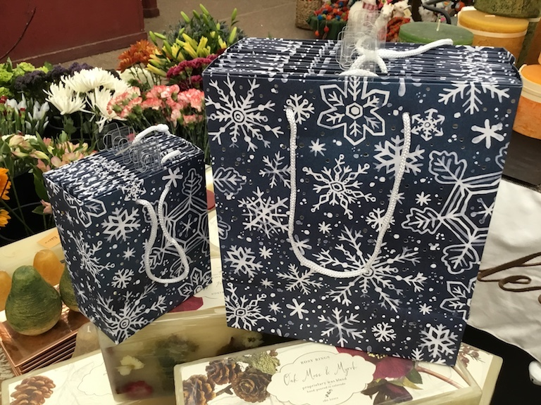 Blue and white gift bags with stars