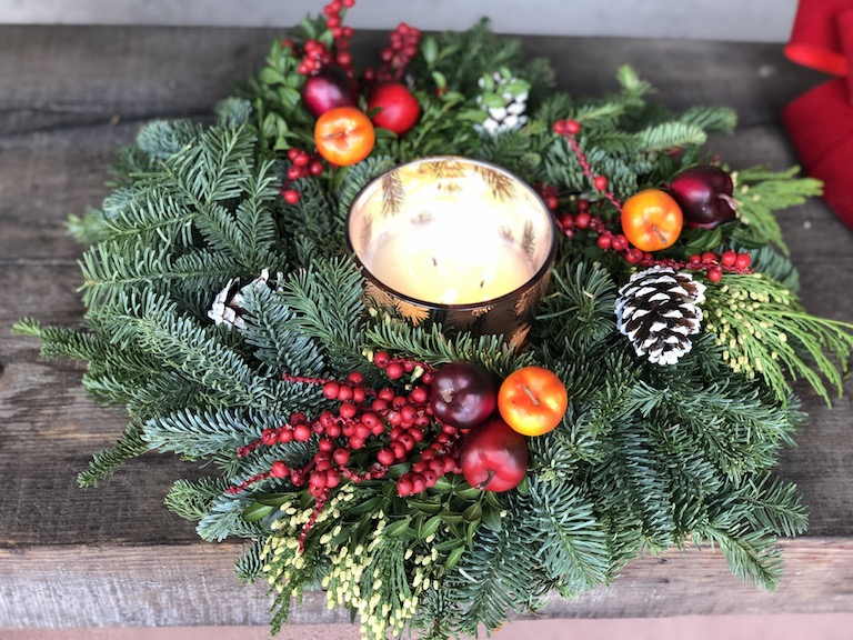 Frasier Fir Candle in Evergreen Candle Ring