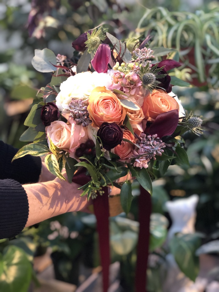 Roses, stock and burgundy callas