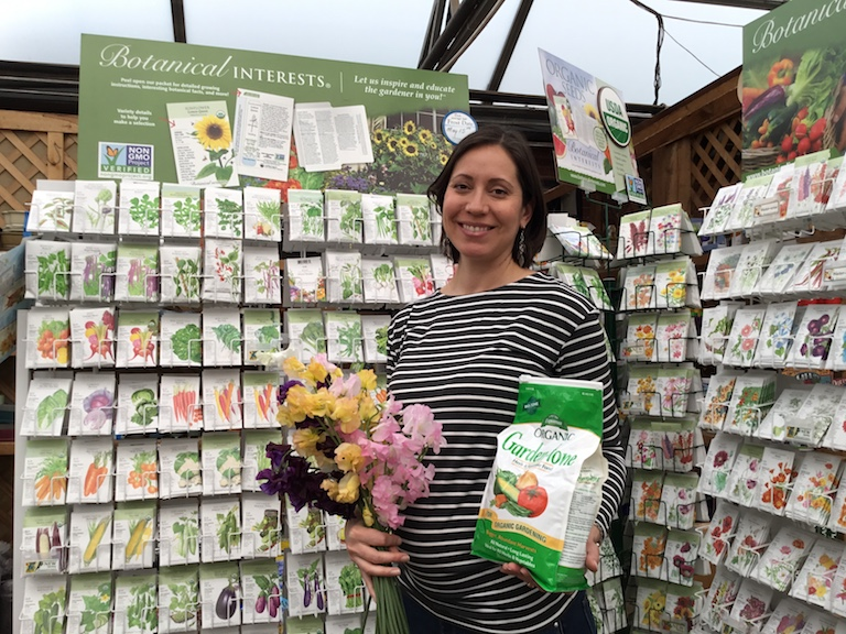 Brittany with a handful of fragrant sweet peas