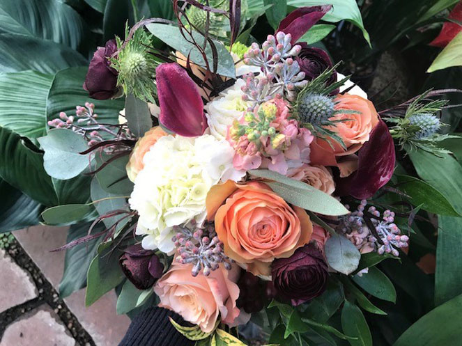 Pink Stock Peach Roses and White Hydrangea Sturtz and Copeland
