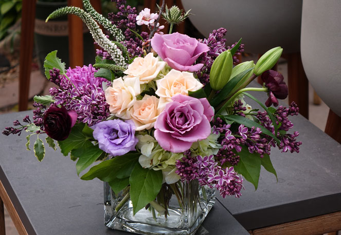 Liliac, Lavendar Roses and Peach Roses Sturtz and Copealand