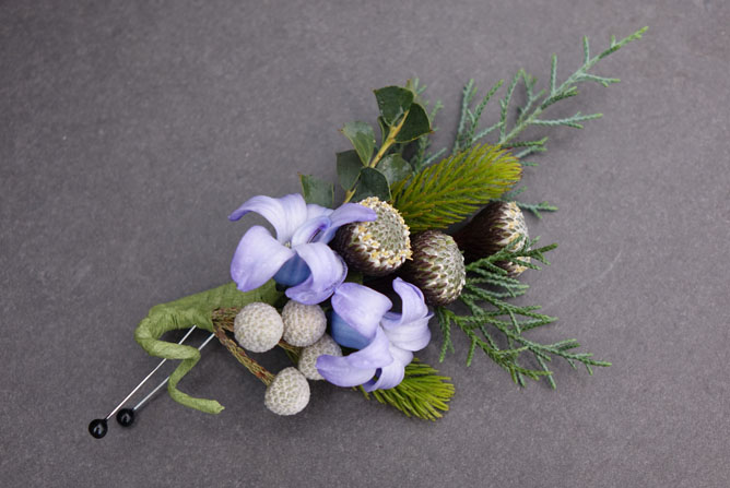 Purple Hyacynth and Brunia Ball Boutonniere Sturtz and Copeland