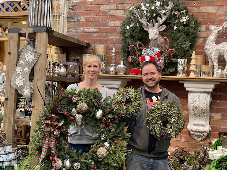 Mandy and Trevor with Traditional and Succulent Wreaths